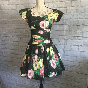 Vintage Patty O'Neil Black Floral Party Dress